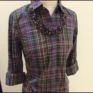 Talbots plaid 3/4 Sleeve Button Up size 16